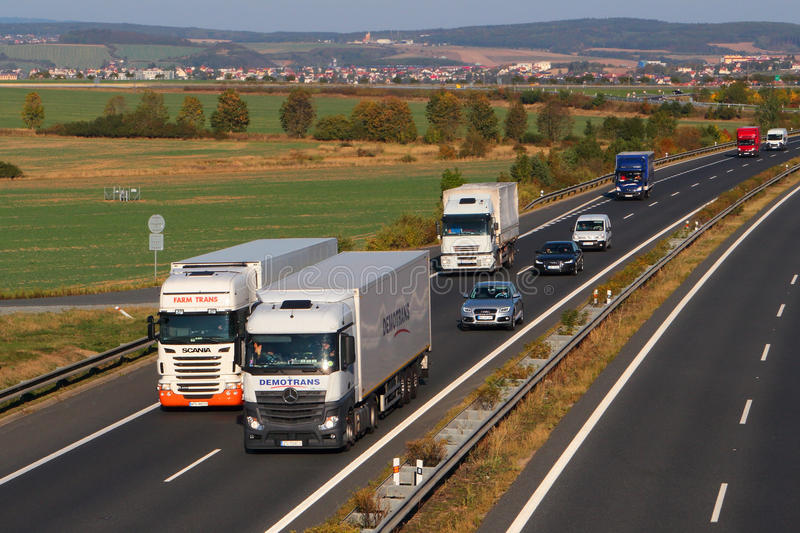 Dangerous overtaking of two trucks. On D5 highway. Cause of frequent car accident. The D5 is important transport connection between West Bohemia and Germany stock image