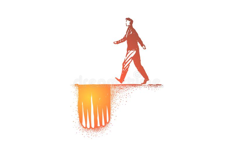 Dangerous path metaphor, man moving to hole trap with sharp spikes. Unsuspecting businessman moving to unforeseen troubles, problem disaster, life threat stock illustration