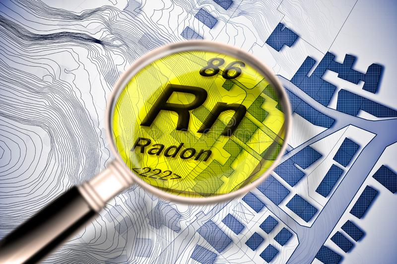 The dangerous radioactive radon gas in our cities - concept image with periodic table of the elements, magnifying lens and city royalty free illustration