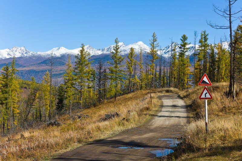 Dangerous road to mountains royalty free stock photo