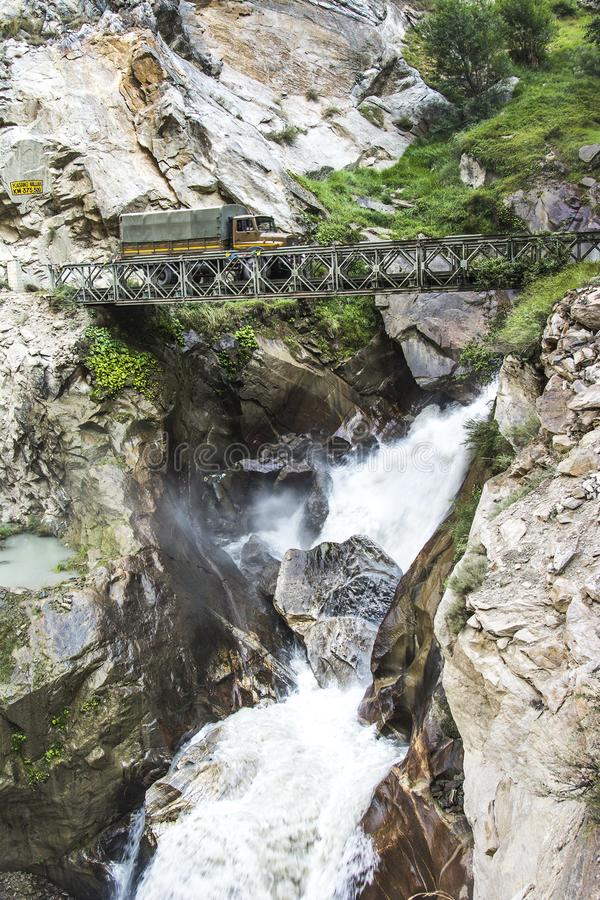 Dangerous Roads of Kinnaur in Himachal Pradesh,India stock photography