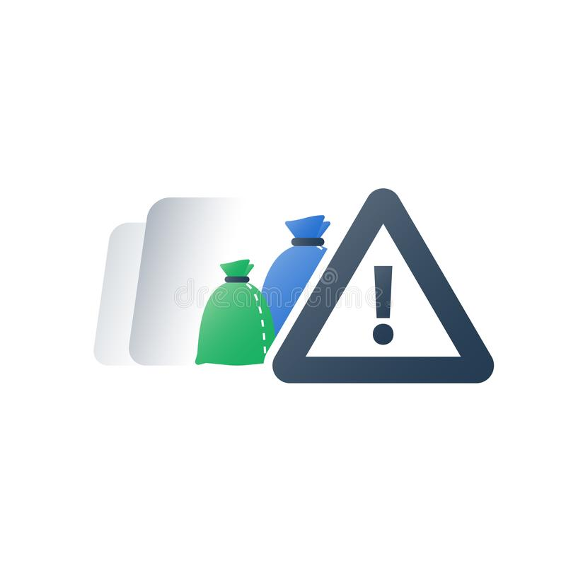 Dangerous rubbish warning sign, hazardous waste products, garbage bags, recycle program, utilization concept,. Hazardous waste products, garbage bags, dangerous vector illustration