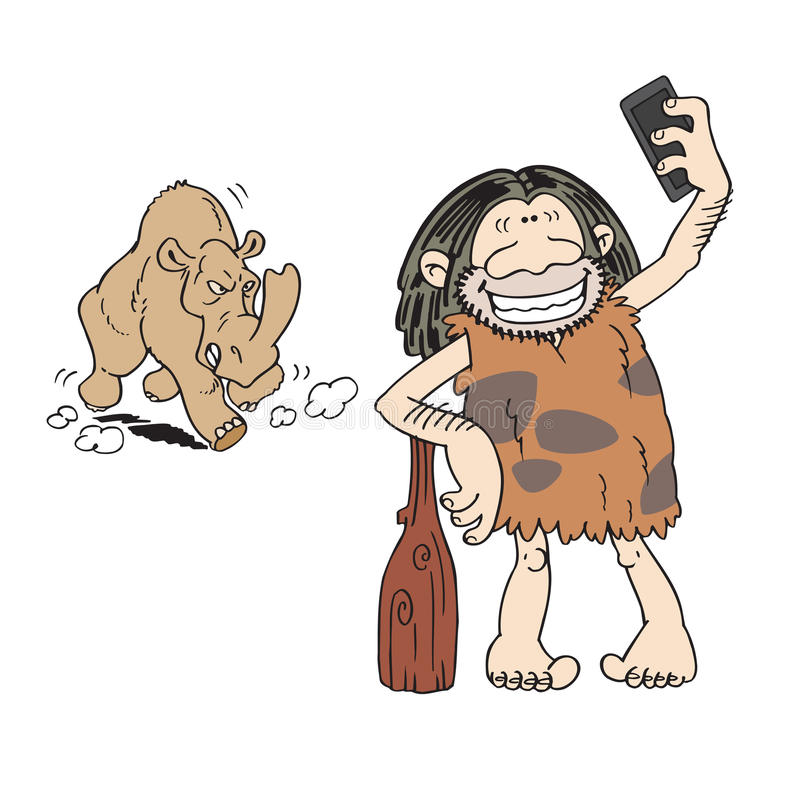 Dangerous selfie. Cartoon caveman taking a selfie photograph, unaware of the rhino coming behind him stock illustration