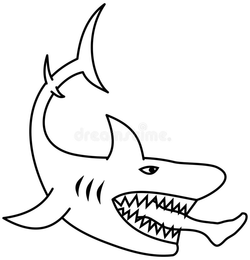 A dangerous shark eating a man`s leg for coloring. This is an illustration vector illustration