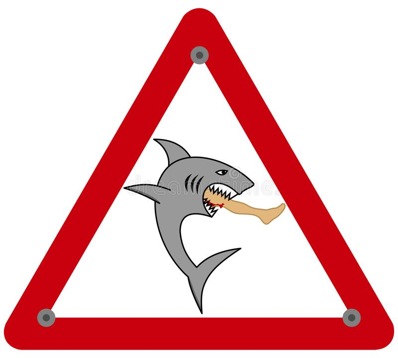 A dangerous shark eating a man`s leg in a danger sign. This is an illustration vector illustration