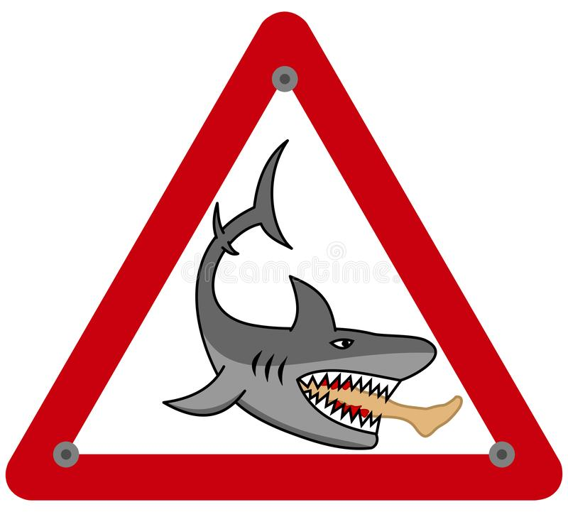 A dangerous shark eating a man`s leg in a danger sign. This is an illustration stock illustration