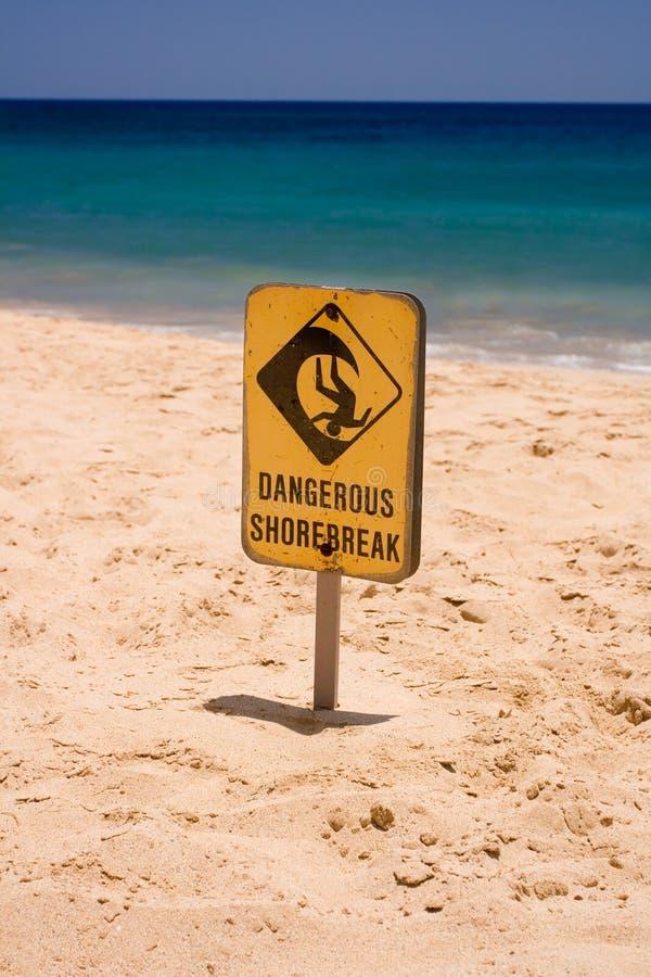 Dangerous Shore Break Sign. On sunny beach stock photo