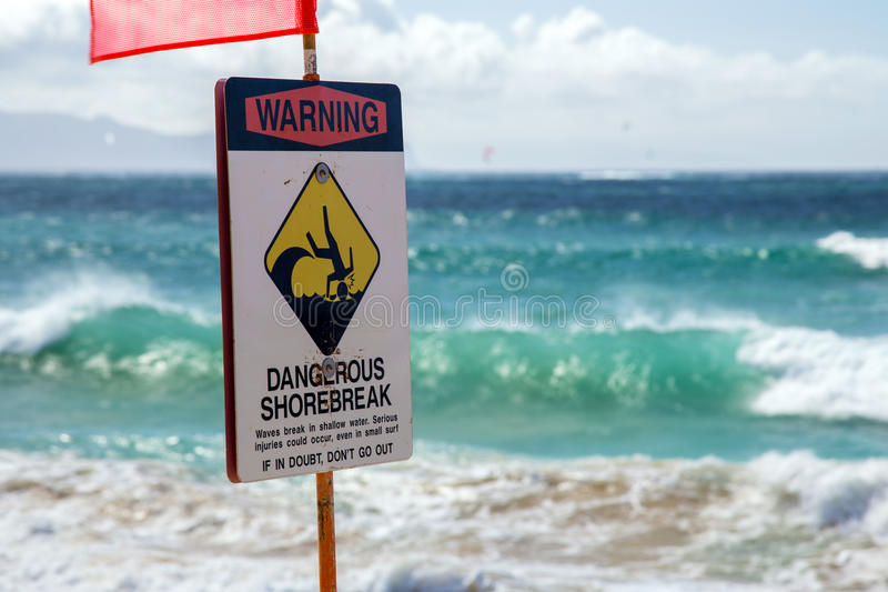 Dangerous Shorebreak. At baldwin beach on the north shore of Maui, Hawaii royalty free stock images