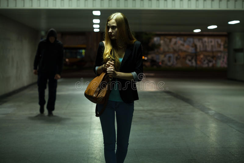 Dangerous situation in the underpass stock photo