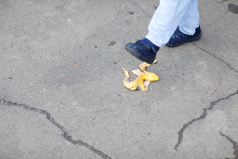 Download Step on the banana stock photo. Image of foot, humor - 30153294