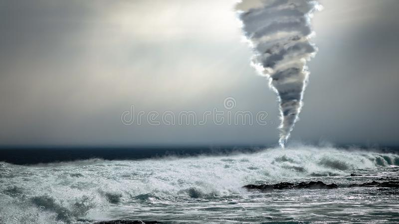 Powerful tornado twister over stormy ocean stock images