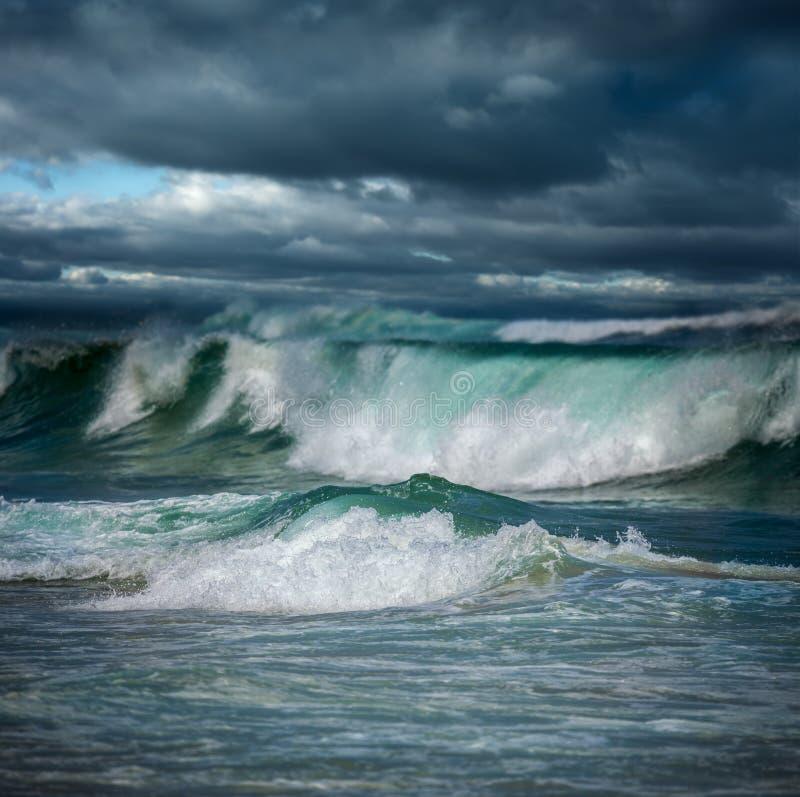 Dangerous stormy weather - big ocean waves stock images