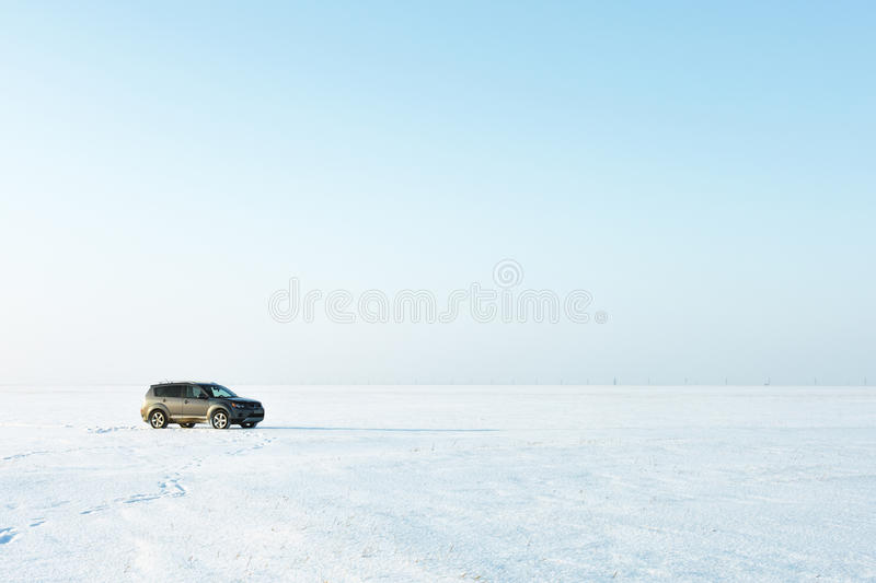 Dangerous travel by car in the winter stock photo