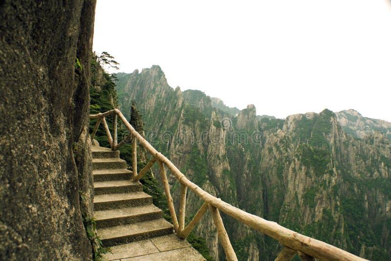 Dangerous trekking trail in huangshan, china stock photography