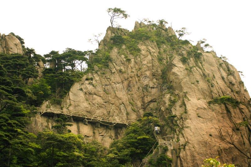 Dangerous trekking trail in huangshan, china royalty free stock photos
