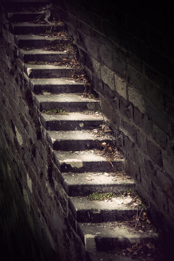 Dangerous vintage staircase royalty free stock image