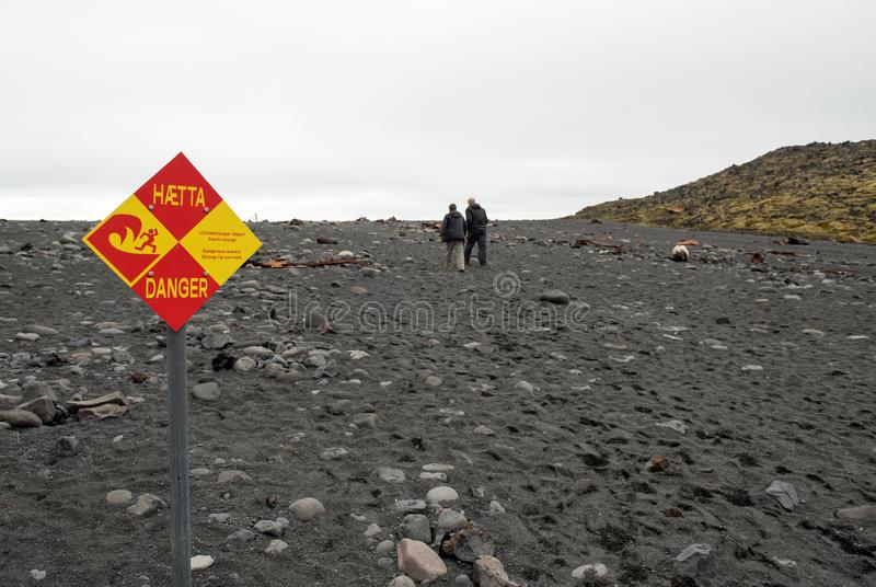 Dangerous waves sign on Icelandic beach stock photo
