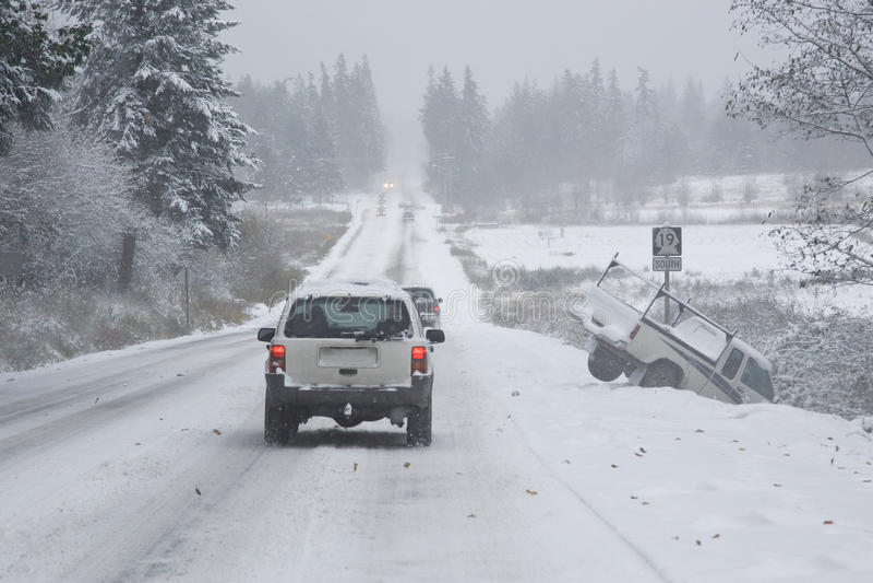 Dangerous Winter Driving stock photos