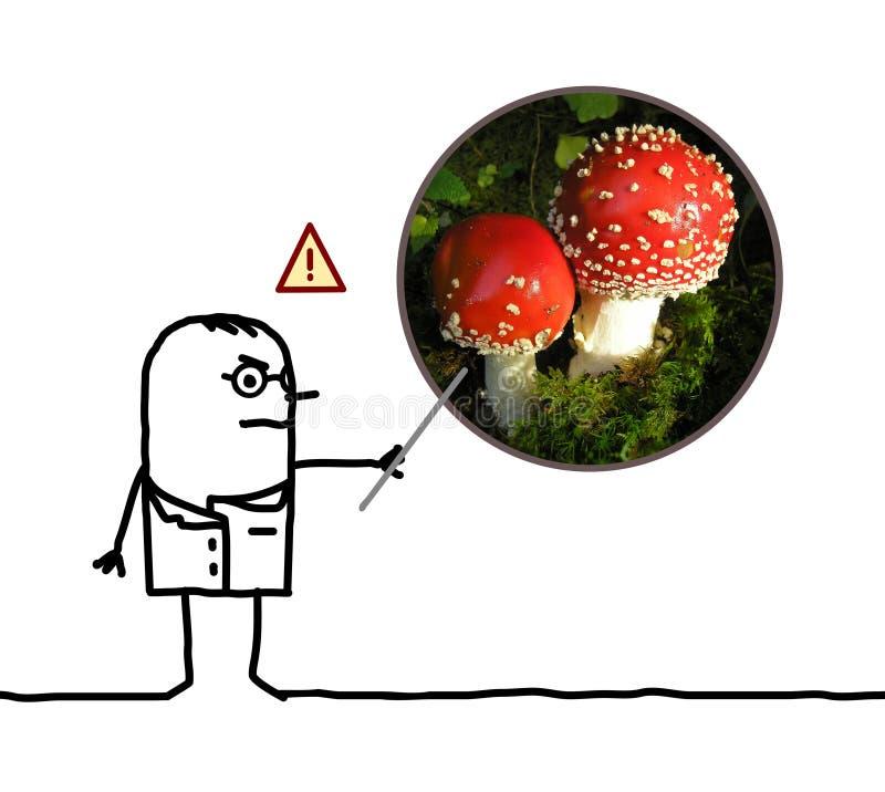 Dangers d'avertissement de docteur d'homme de bande dessinée d'amanite de champignon illustration stock