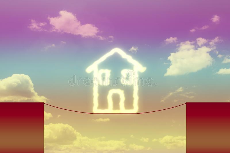 Dangers and pitfalls about buildings - concept image with house suspended on a ravine royalty free stock images