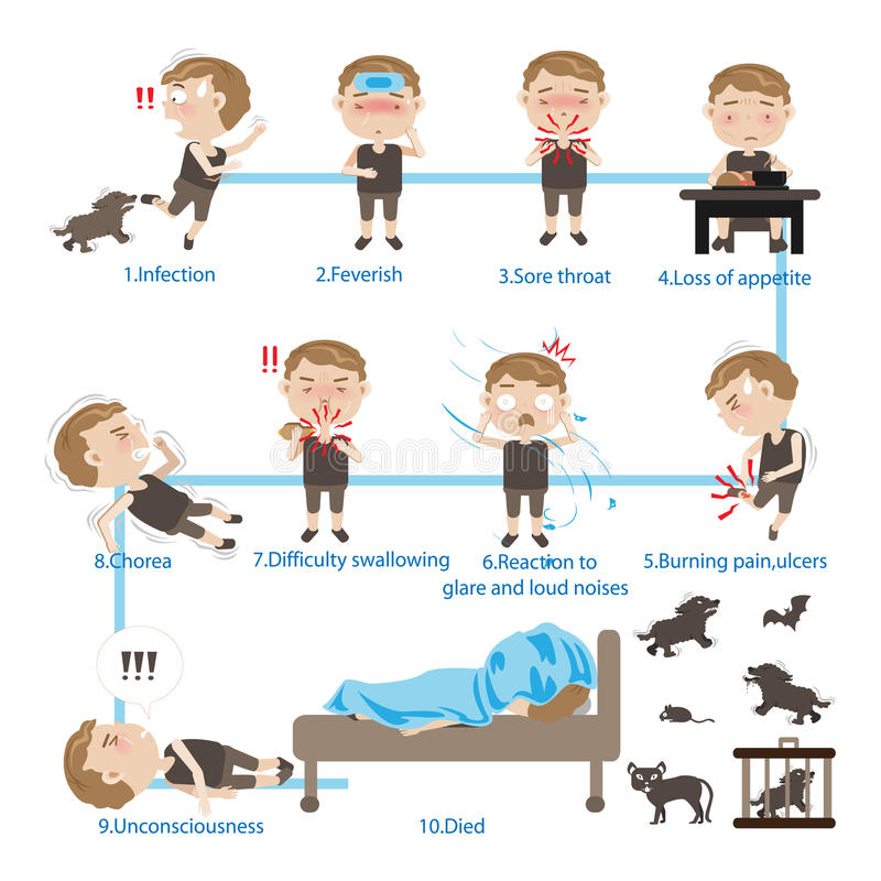 Dangers of Rabies stock illustration