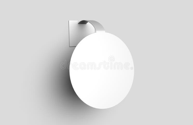 Dangler plástico de anúncio branco vazio da prateleira do wobbler da prateleira do PVC para shopping 3d rendem a ilustração ilustração royalty free