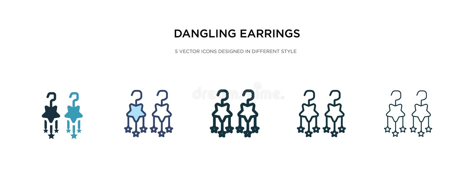 Dangling earrings icon in different style vector illustration. two colored and black dangling earrings vector icons designed in. Filled, outline, line and vector illustration