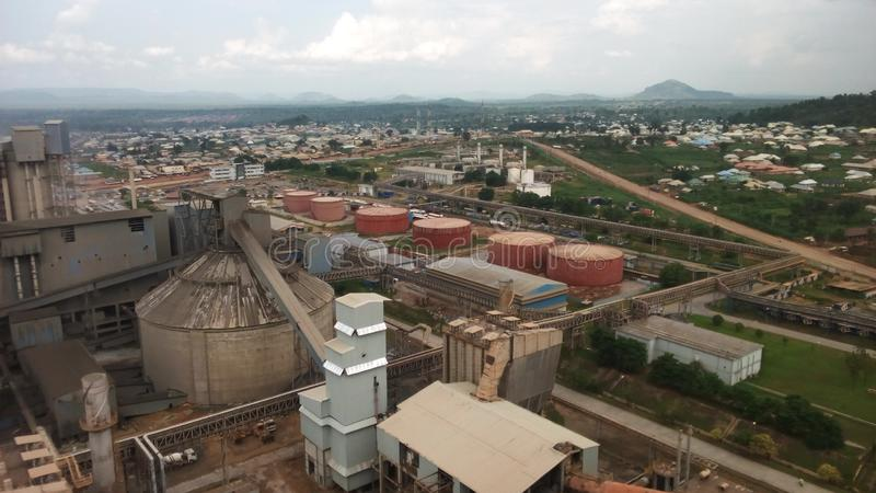Dangote cement company. Dangote obajana cement the largest cement factory in west African in obajana -Kabba road kogi state of Nigeria royalty free stock image