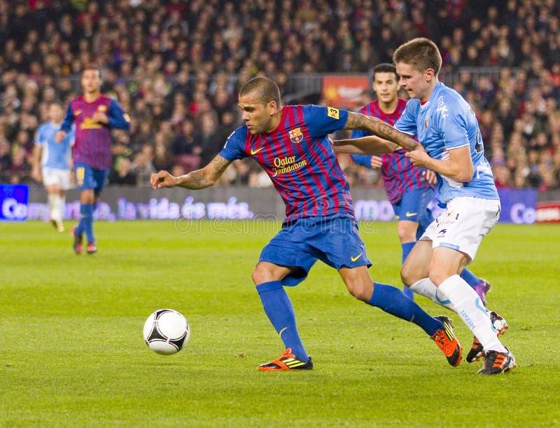 Dani Alves van FC Barcelona royalty-vrije stock foto's