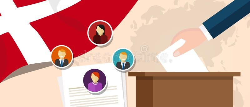 Dani demokraci proces polityczny wybiera prezydenta lub parlamentu członka z wolnością wybory i referendum ilustracji