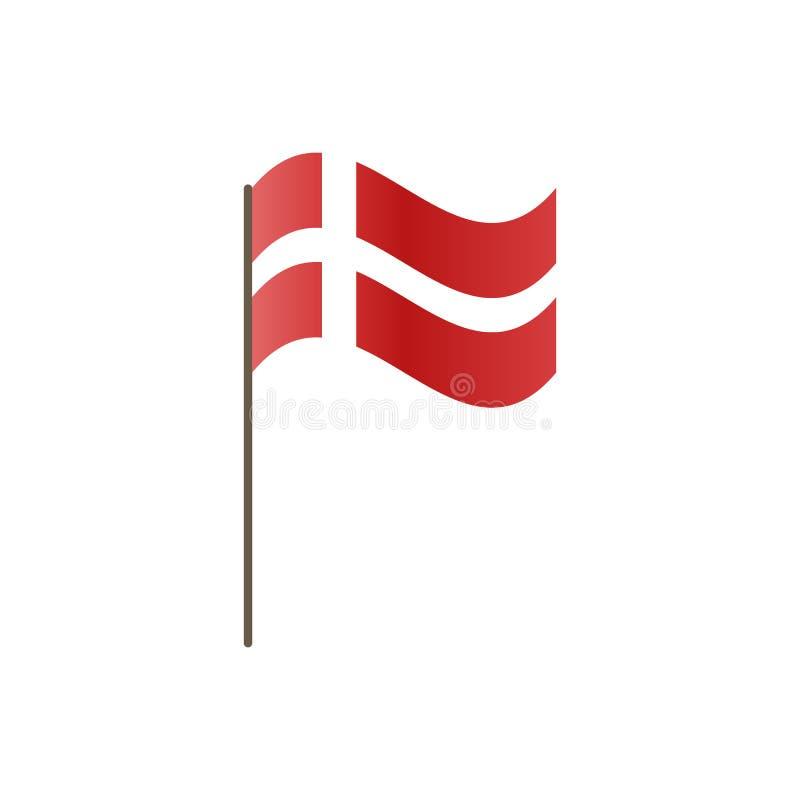 Dani flaga na flagpole Urzędnik proporcja prawidłowo i Falowanie Dani flaga na flagpole, wektorowa ilustracja jest ilustracja wektor
