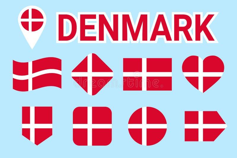 Dani flaga wektoru set Kolekcja duńskie flaga państowowa Mieszkanie odosobnione ikony Kraju imię w tradycyjnych kolorach Illustra royalty ilustracja