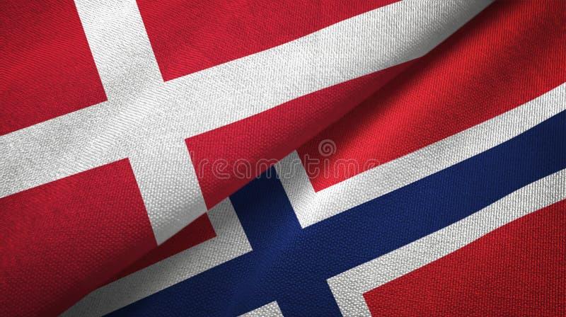 Dani i Norwegia dwa flagi tekstylny płótno, tkaniny tekstura ilustracji