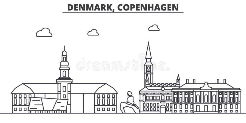 Dani, Kopenhaga architektury linii linii horyzontu ilustracja Liniowy wektorowy pejzaż miejski z sławnymi punktami zwrotnymi, mia ilustracja wektor