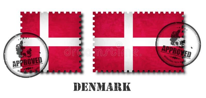 Dani lub duński flaga wzoru znaczek pocztowy z grunge narysu starą teksturą i afiksem foka na odosobnionym tle czarny kolor royalty ilustracja