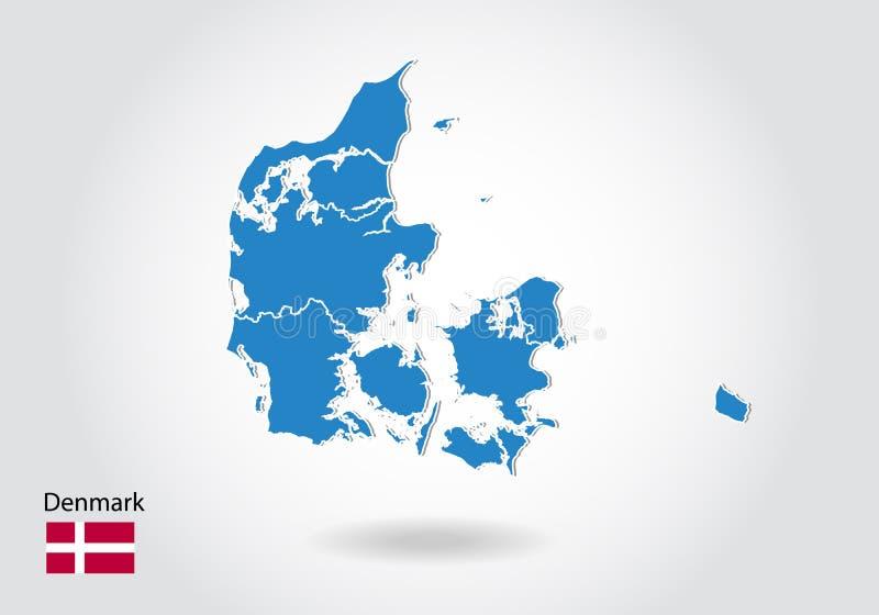 Dani mapy projekt z 3D stylem Błękitna Denmark flaga państowowa i mapa Prosta wektorowa mapa z konturem, kształt, kontur, na biel royalty ilustracja