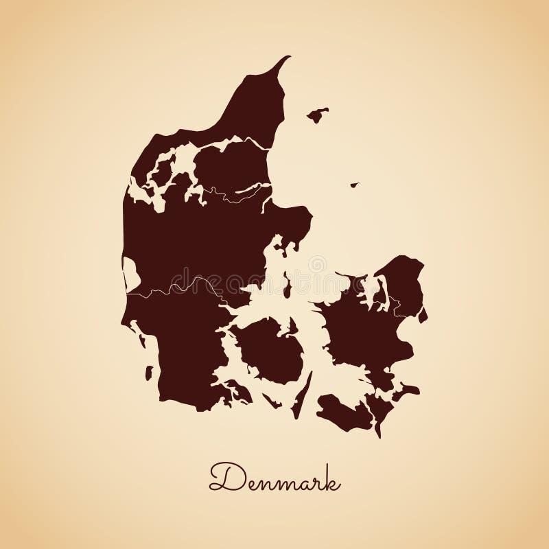 Dani regionu mapa: retro stylowy brown kontur dalej ilustracji