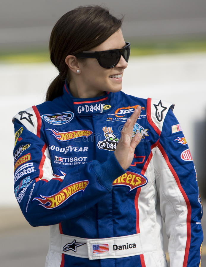 Danica Patrick at the track. BROOKLYN, MI - AUG 14, 2010: Danica Patrick (7) before qualifying for the Carfax 250 race at the Michigan International Speedway in stock image