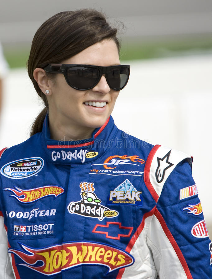 Danica Patrick at the track. BROOKLYN, MI - AUG 14, 2010: Danica Patrick (7) before qualifying for the Carfax 250 race at the Michigan International Speedway in royalty free stock photo