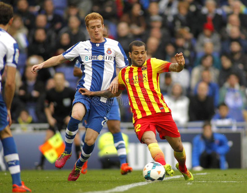 Daniel Alves de FC Barcelona imagen de archivo