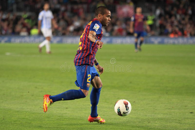 Daniel Alves - FC Barcelona. Daniel Alves from FC Barcelona, in the spanish league match between FC Barcelona and Malaga CF. It was played within 20th la liga royalty free stock photos