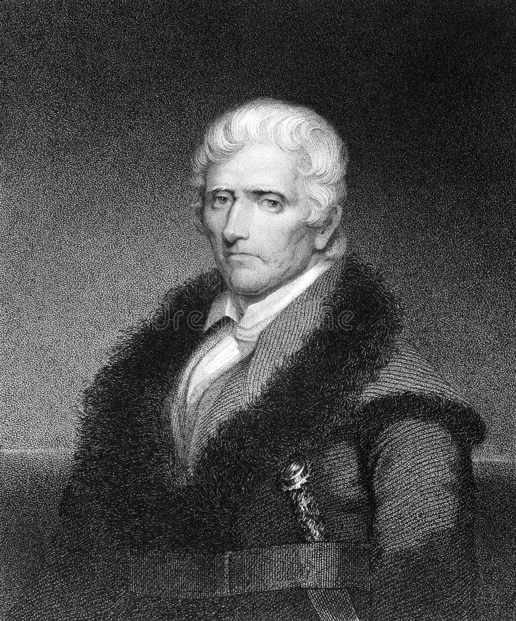 Daniel Boone. (1734-1820) on engraving from 1835. American pioneer, explorer, and frontiersman. Engraved by J.B.Longacre and published in''National Portrait stock image