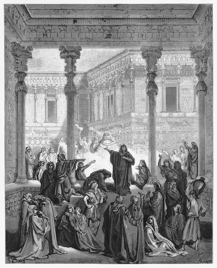 Daniel Confounding The Priests Of-Bel lizenzfreie abbildung