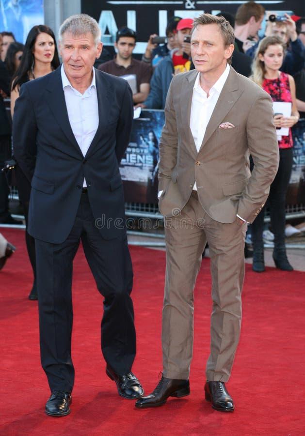 Daniel Craig, Harrison Ford fotografia de stock