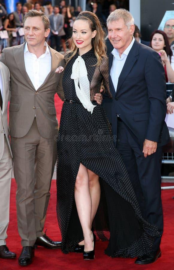 Daniel Craig, Harrison Ford, Olivia Wilde foto de stock