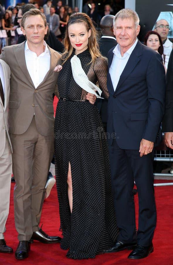 Daniel Craig, Harrison Ford, Olivia Wilde imagens de stock