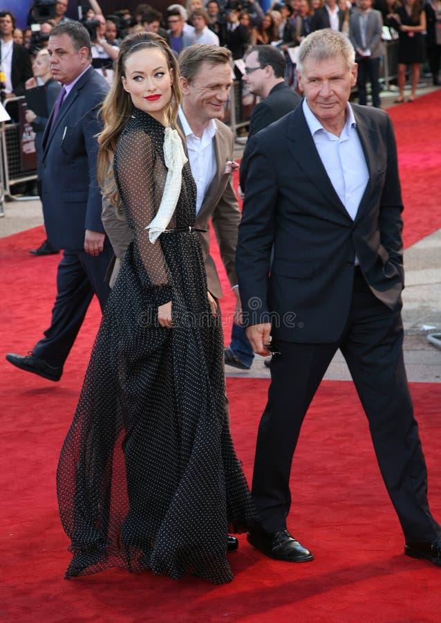 Daniel Craig, Harrison Ford, Olivia Wilde fotografia de stock royalty free