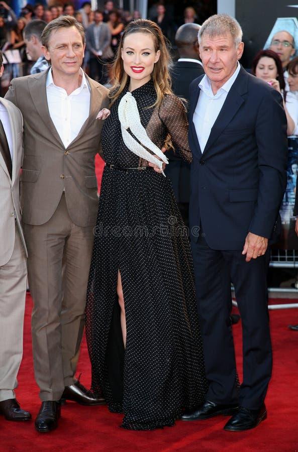 Daniel Craig, Harrison Ford, Olivia Wilde fotografia de stock