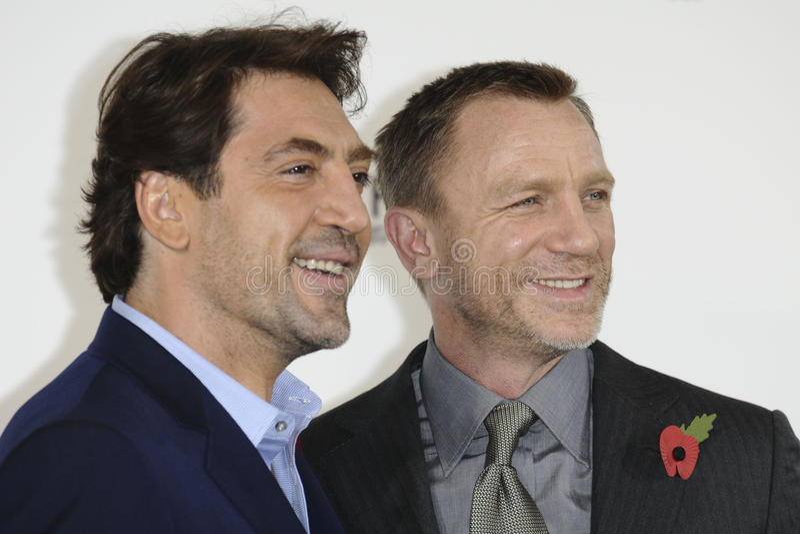 Daniel Craig, Javier Bardem, James Bond imagem de stock