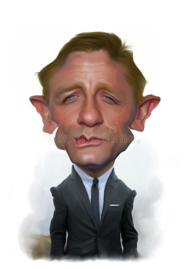 Daniel Craig Karykatury Portret ilustracja wektor